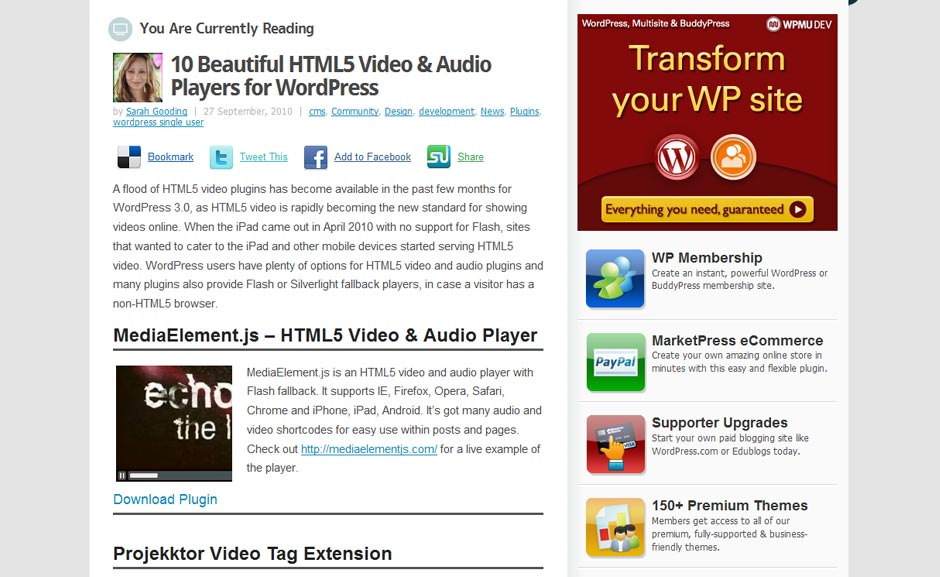 Resource: 10 Beautiful HTML5 Video & Audio Players for WordPress